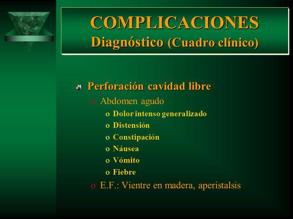 COMPLICACIONES Diagnóstico Perforación oCavidad libre oTranscavidad de los epiplonesPenetración oPancreas Estenosis por cicatrización oPilórica oCardi