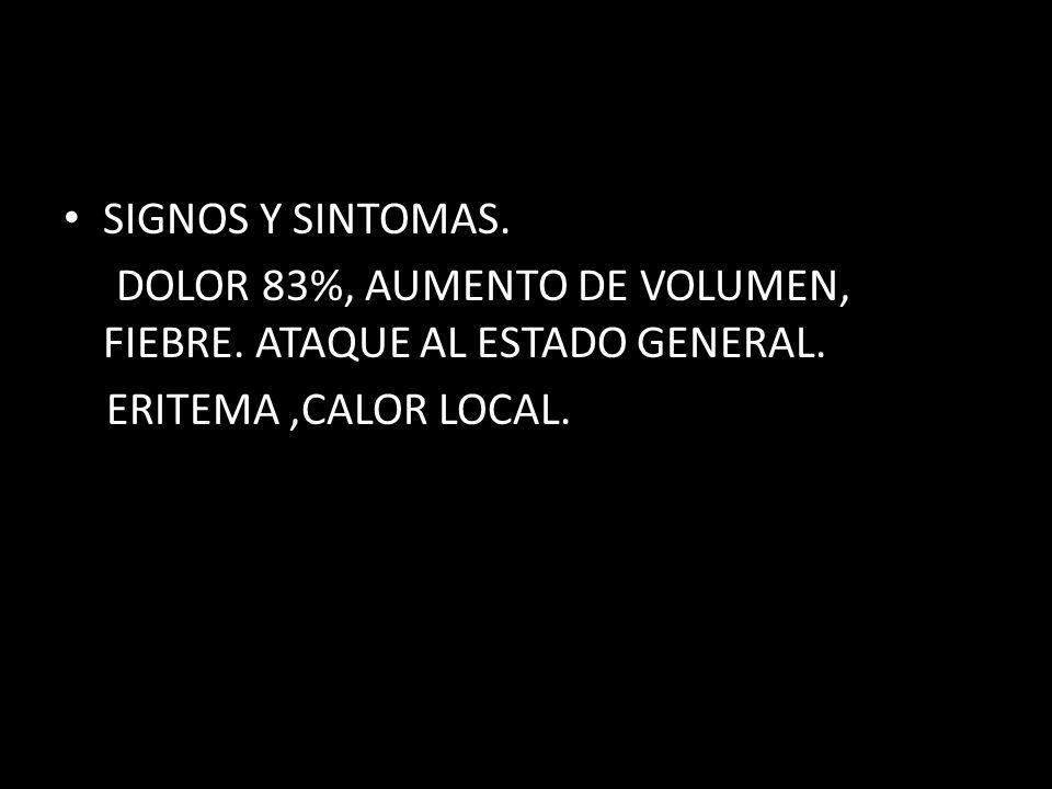 SIGNOS Y SINTOMAS. DOLOR 83%, AUMENTO DE VOLUMEN, FIEBRE. ATAQUE AL ESTADO GENERAL. ERITEMA,CALOR LOCAL.