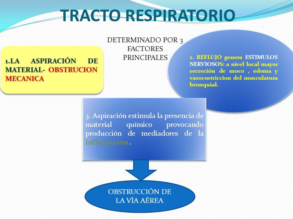 TRACTO RESPIRATORIO 1.LA ASPIRACIÓN DE MATERIAL- OBSTRUCION MECANICA. 2. REFLUJO genera ESTIMULOS NERVIOSOS: a nivel local mayor secreción de moco, ed