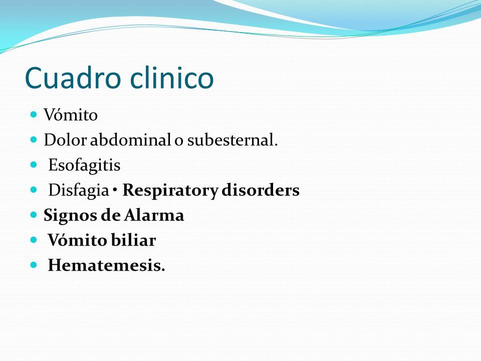 Cuadro clinico Vómito Dolor abdominal o subesternal. Esofagitis Disfagia Respiratory disorders Signos de Alarma Vómito biliar Hematemesis.