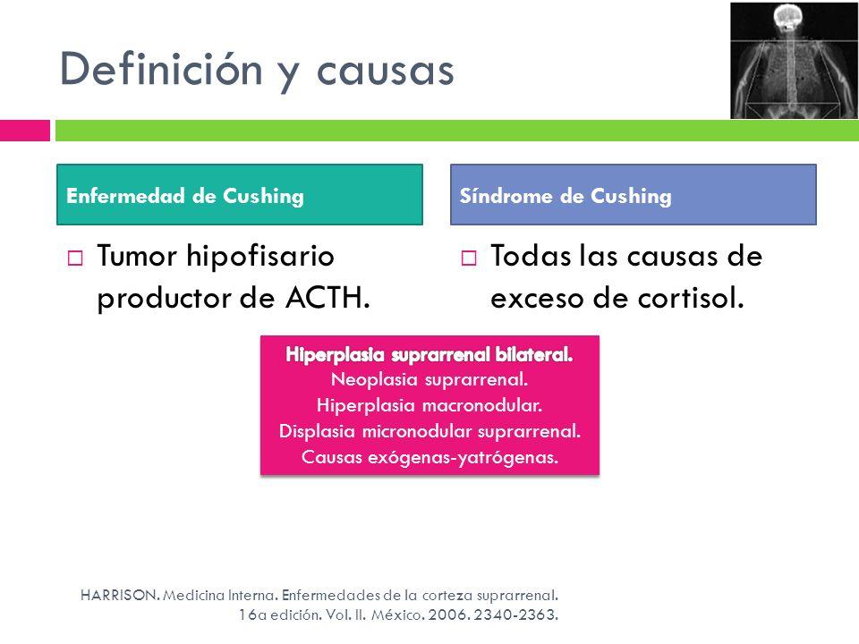 Definición y causas Tumor hipofisario productor de ACTH. Todas las causas de exceso de cortisol. HARRISON. Medicina Interna. Enfermedades de la cortez