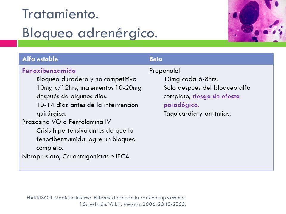 Tratamiento. Bloqueo adrenérgico. HARRISON. Medicina Interna. Enfermedades de la corteza suprarrenal. 16a edición. Vol. II. México. 2006. 2340-2363. A