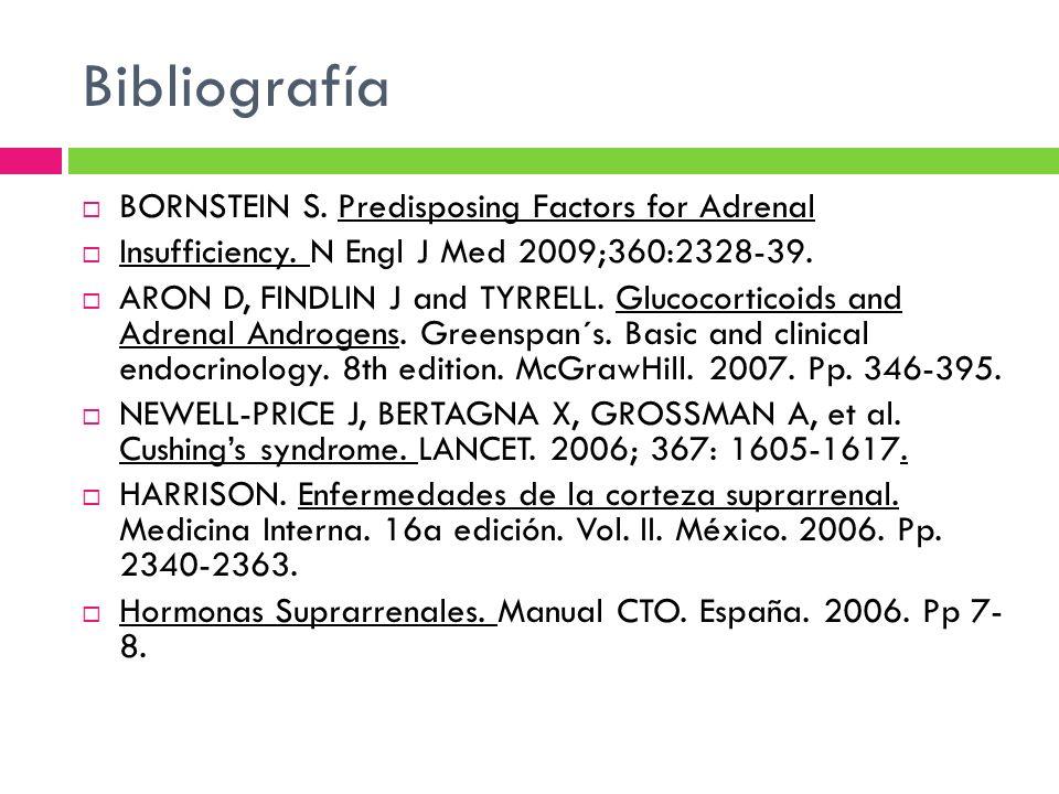 Bibliografía BORNSTEIN S. Predisposing Factors for Adrenal Insufficiency. N Engl J Med 2009;360:2328-39. ARON D, FINDLIN J and TYRRELL. Glucocorticoid