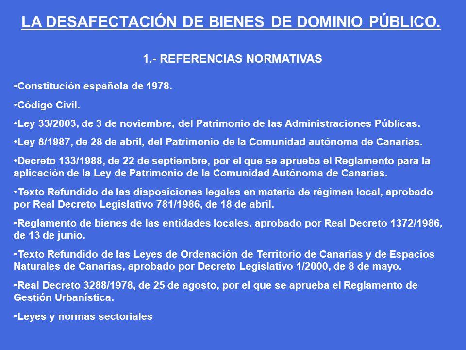 1.- REFERENCIAS NORMATIVAS Constitución española de 1978. Código Civil. Ley 33/2003, de 3 de noviembre, del Patrimonio de las Administraciones Pública