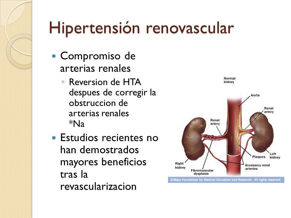 Hipertensión renovascular Compromiso de arterias renales Reversion de HTA despues de corregir la obstruccion de arterias renales *Na Estudios reciente