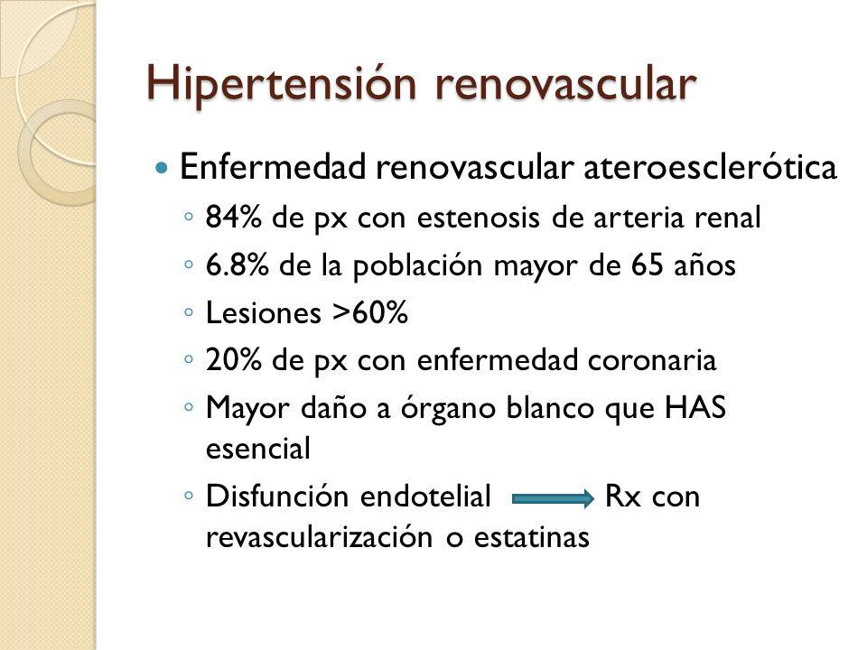 Hipertensión renovascular Enfermedad renovascular ateroesclerótica 84% de px con estenosis de arteria renal 6.8% de la población mayor de 65 años Lesi
