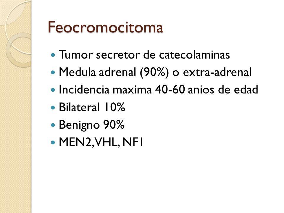 Feocromocitoma Tumor secretor de catecolaminas Medula adrenal (90%) o extra-adrenal Incidencia maxima 40-60 anios de edad Bilateral 10% Benigno 90% ME