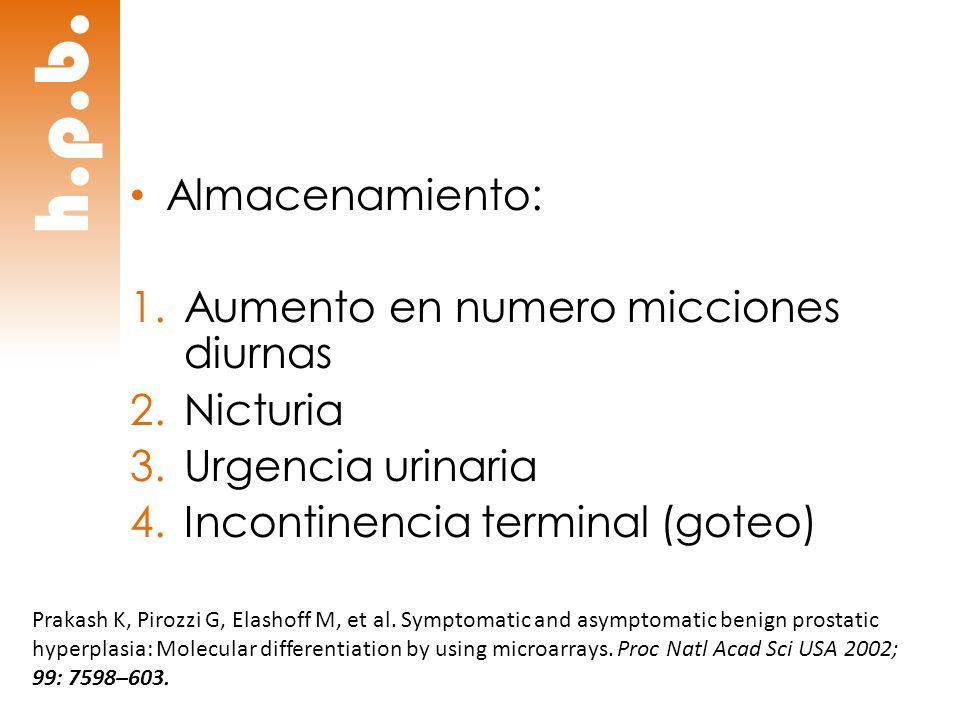 h.p.b. Almacenamiento: 1.Aumento en numero micciones diurnas 2.Nicturia 3.Urgencia urinaria 4.Incontinencia terminal (goteo) Prakash K, Pirozzi G, Ela