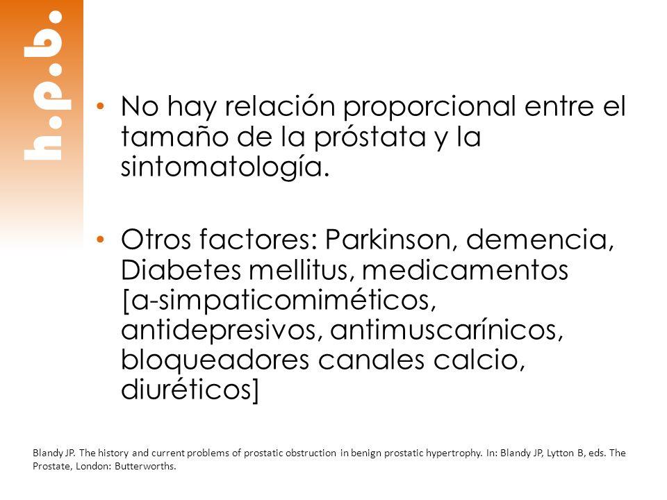 h.p.b. No hay relación proporcional entre el tamaño de la próstata y la sintomatología. Otros factores: Parkinson, demencia, Diabetes mellitus, medica
