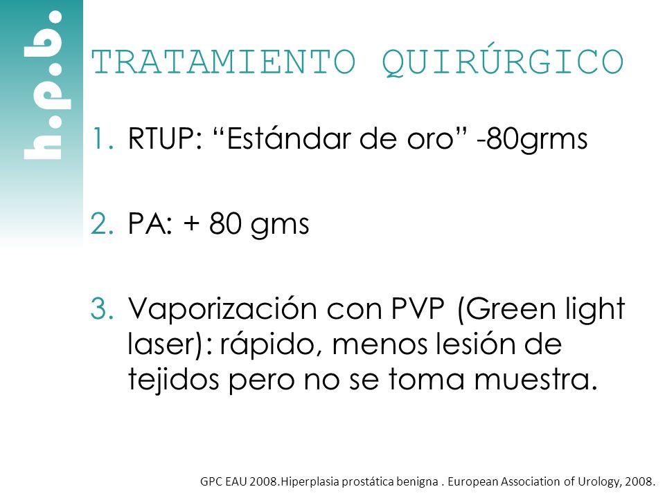 h.p.b. TRATAMIENTO QUIRÚRGICO 1.RTUP: Estándar de oro -80grms 2.PA: + 80 gms 3.Vaporización con PVP (Green light laser): rápido, menos lesión de tejid
