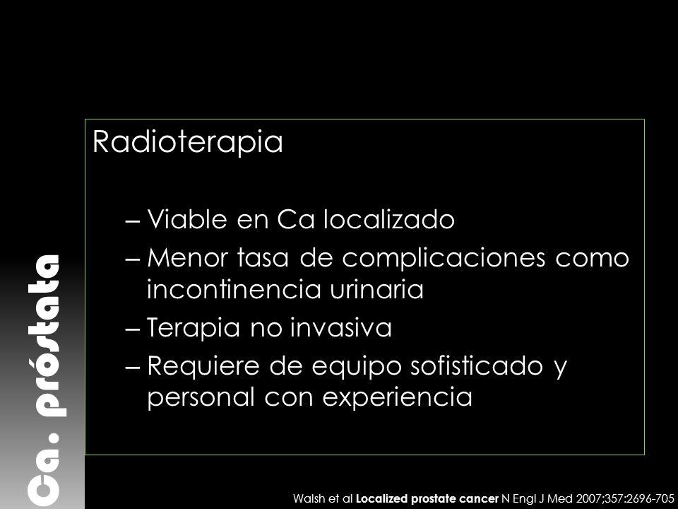 Ca. próstata Radioterapia – Viable en Ca localizado – Menor tasa de complicaciones como incontinencia urinaria – Terapia no invasiva – Requiere de equ