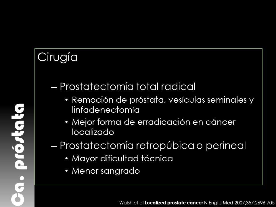 Ca. próstata Cirugía – Prostatectomía total radical Remoción de próstata, vesículas seminales y linfadenectomía Mejor forma de erradicación en cáncer