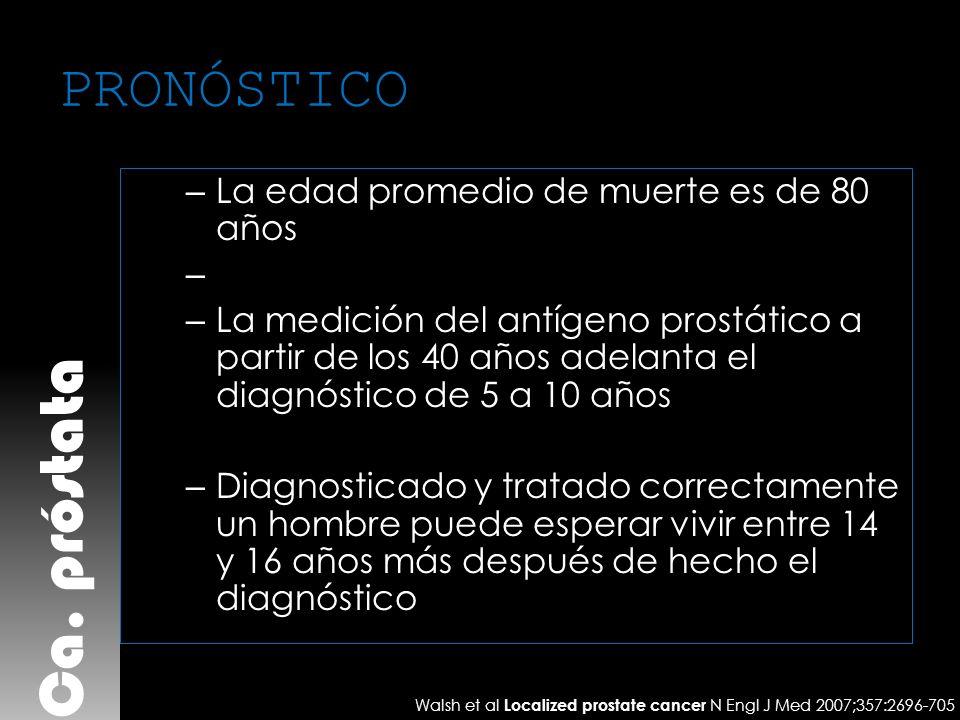 PRONÓSTICO – La edad promedio de muerte es de 80 años – – La medición del antígeno prostático a partir de los 40 años adelanta el diagnóstico de 5 a 1