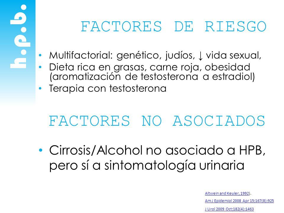 h.p.b. FACTORES DE RIESGO Multifactorial: genético, judíos, vida sexual, Dieta rica en grasas, carne roja, obesidad (aromatización de testosterona a e