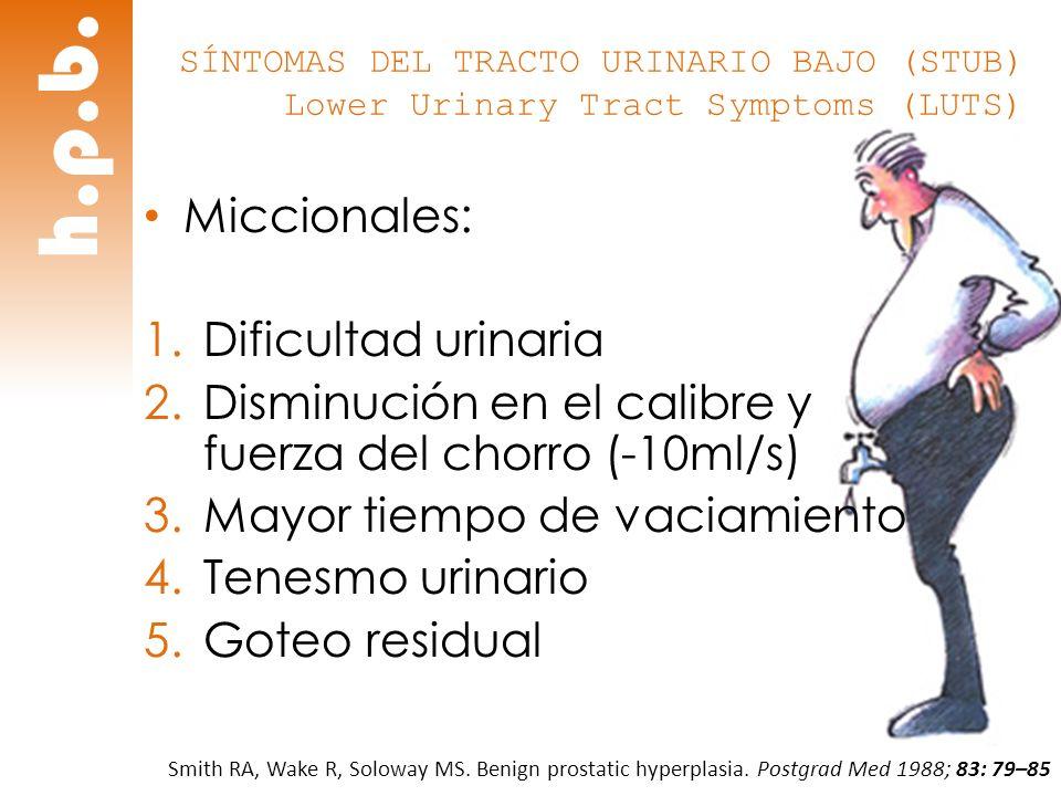 h.p.b. SÍNTOMAS DEL TRACTO URINARIO BAJO (STUB) Lower Urinary Tract Symptoms (LUTS) Miccionales: 1.Dificultad urinaria 2.Disminución en el calibre y f