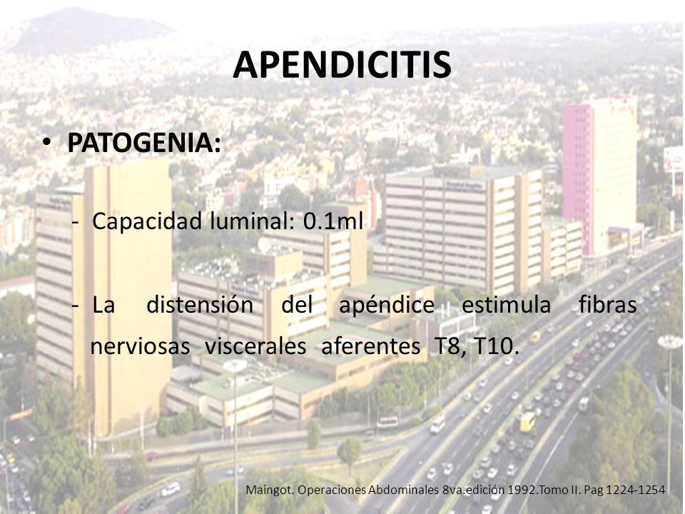 APENDICITIS PATOGENIA: - Capacidad luminal: 0.1ml - La distensión del apéndice estimula fibras nerviosas viscerales aferentes T8, T10. Maingot. Operac