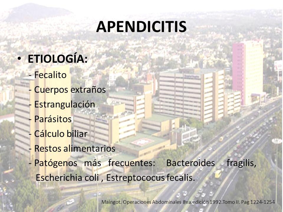 APENDICITIS ETIOLOGÍA: - Fecalito - Cuerpos extraños - Estrangulación - Parásitos - Cálculo biliar - Restos alimentarios - Patógenos más frecuentes: B
