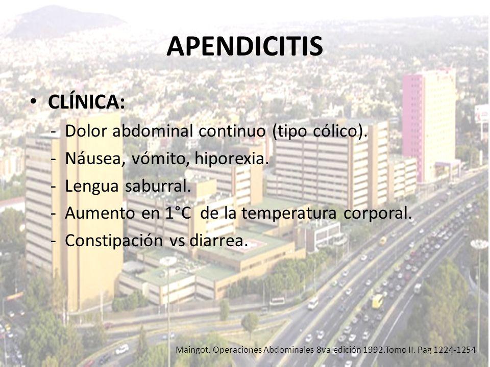 APENDICITIS CLÍNICA: - Dolor abdominal continuo (tipo cólico). - Náusea, vómito, hiporexia. - Lengua saburral. - Aumento en 1°C de la temperatura corp