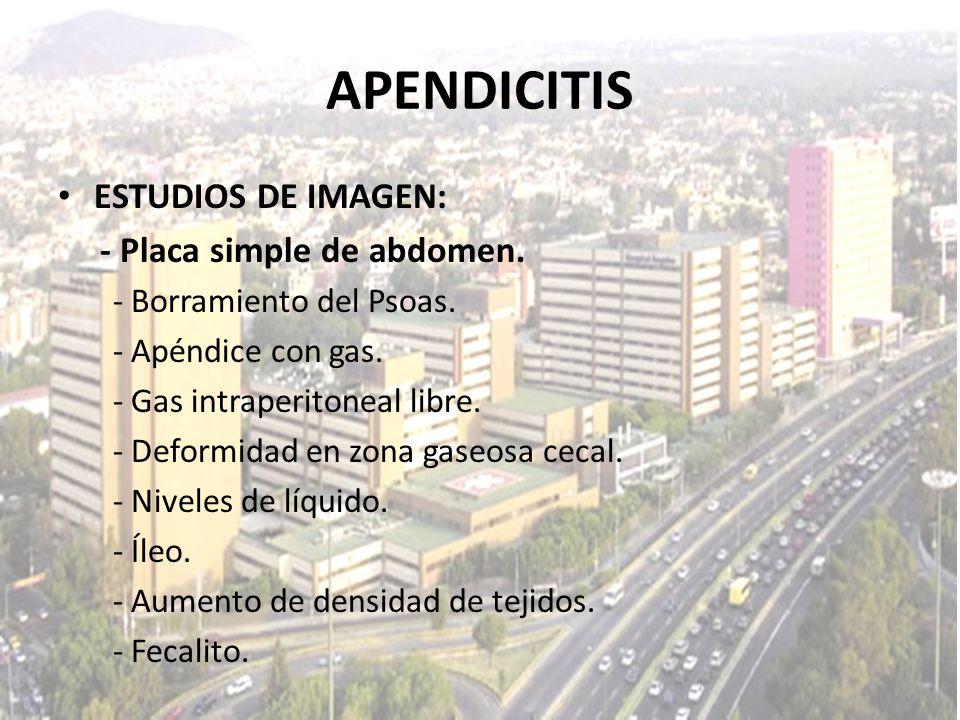 APENDICITIS ESTUDIOS DE IMAGEN: - Placa simple de abdomen. - Borramiento del Psoas. - Apéndice con gas. - Gas intraperitoneal libre. - Deformidad en z