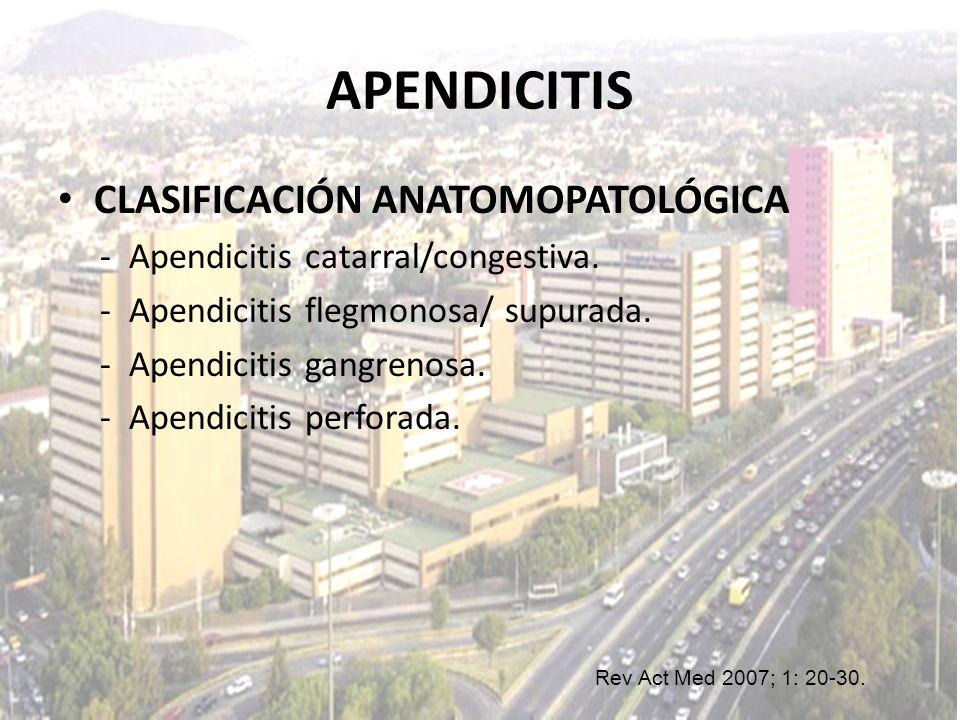 APENDICITIS CLASIFICACIÓN ANATOMOPATOLÓGICA - Apendicitis catarral/congestiva. - Apendicitis flegmonosa/ supurada. - Apendicitis gangrenosa. - Apendic