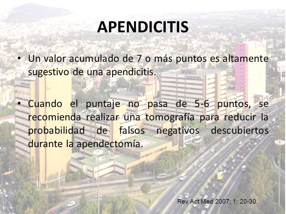 APENDICITIS Un valor acumulado de 7 o más puntos es altamente sugestivo de una apendicitis. Cuando el puntaje no pasa de 5-6 puntos, se recomienda rea