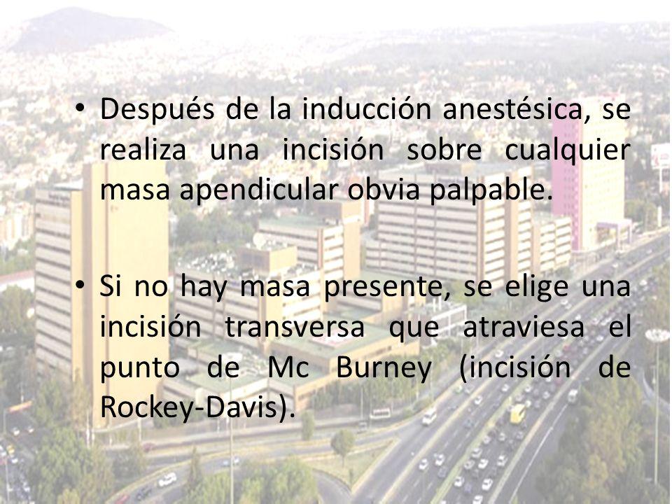 Después de la inducción anestésica, se realiza una incisión sobre cualquier masa apendicular obvia palpable. Si no hay masa presente, se elige una inc