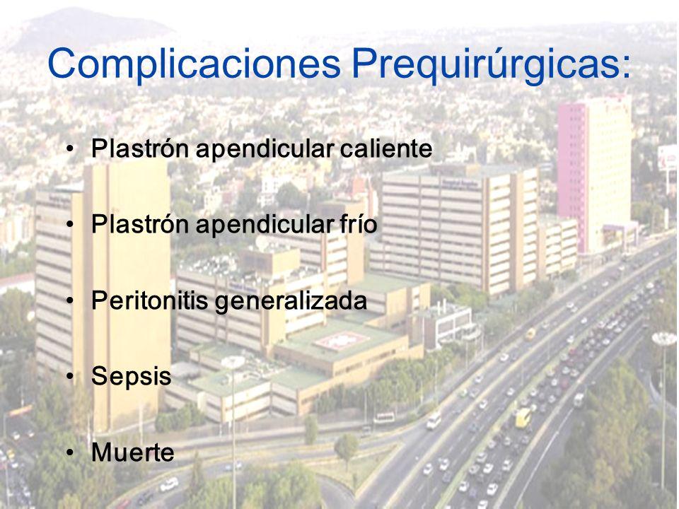 Complicaciones Prequirúrgicas: Plastrón apendicular caliente Plastrón apendicular frío Peritonitis generalizada Sepsis Muerte