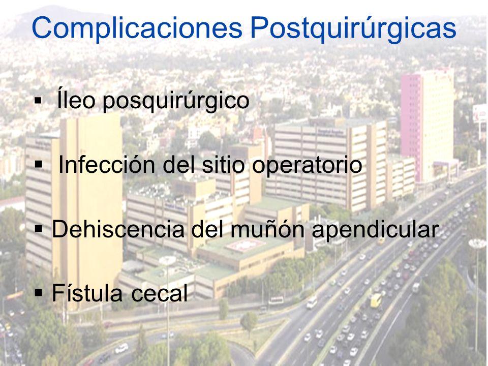 Complicaciones Postquirúrgicas Íleo posquirúrgico Infección del sitio operatorio Dehiscencia del muñón apendicular Fístula cecal