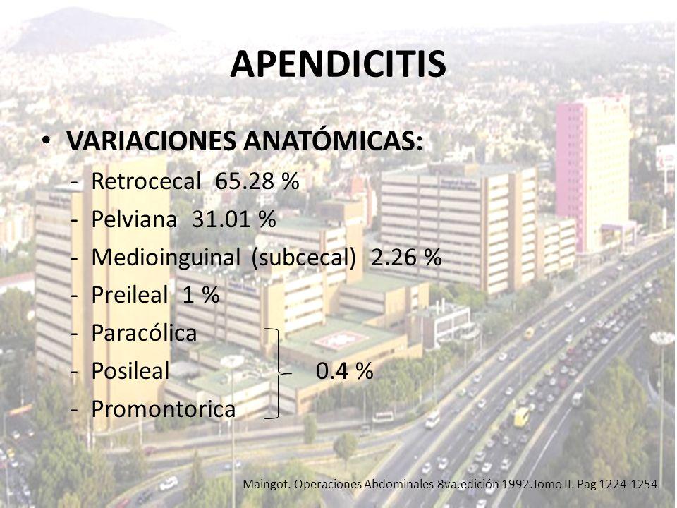 APENDICITIS VARIACIONES ANATÓMICAS: - Retrocecal 65.28 % - Pelviana 31.01 % - Medioinguinal (subcecal) 2.26 % - Preileal 1 % - Paracólica - Posileal 0