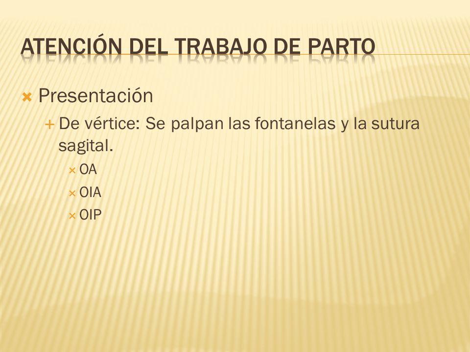 Presentación De vértice: Se palpan las fontanelas y la sutura sagital. OA OIA OIP