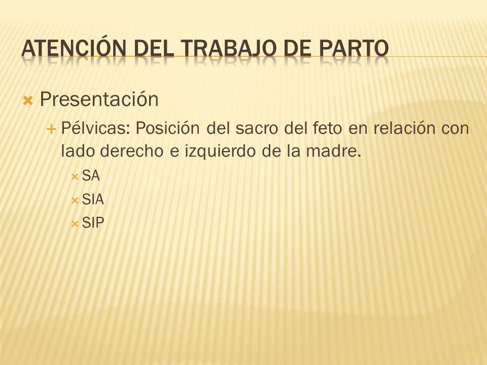 Presentación Pélvicas: Posición del sacro del feto en relación con lado derecho e izquierdo de la madre. SA SIA SIP
