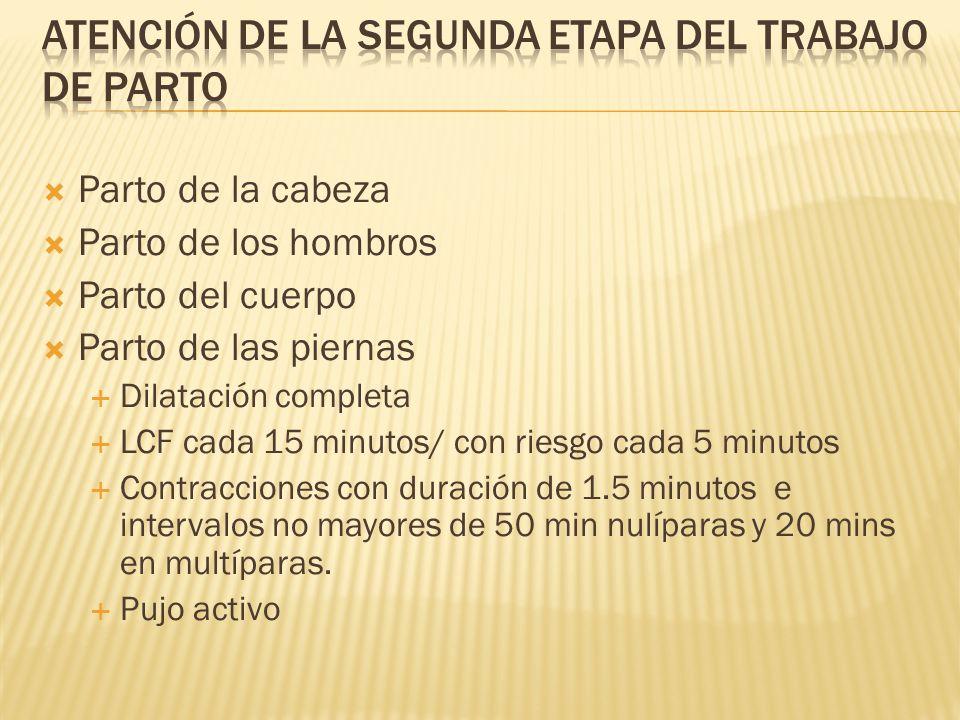 Parto de la cabeza Parto de los hombros Parto del cuerpo Parto de las piernas Dilatación completa LCF cada 15 minutos/ con riesgo cada 5 minutos Contr