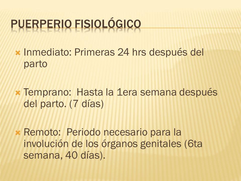 Inmediato: Primeras 24 hrs después del parto Temprano: Hasta la 1era semana después del parto. (7 días) Remoto: Periodo necesario para la involución d