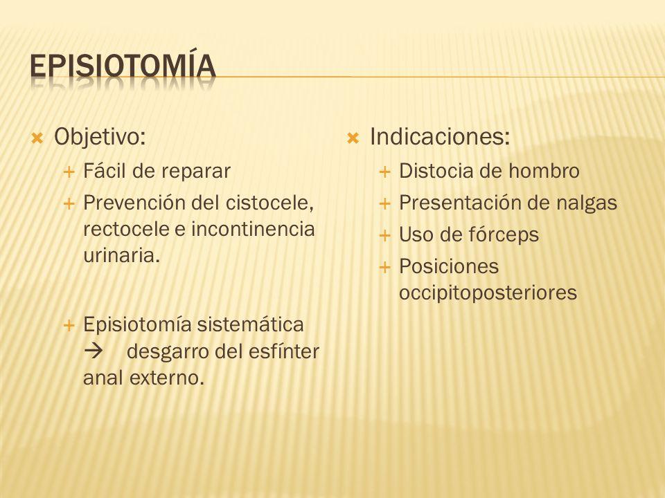 Objetivo: Fácil de reparar Prevención del cistocele, rectocele e incontinencia urinaria. Episiotomía sistemática desgarro del esfínter anal externo. I