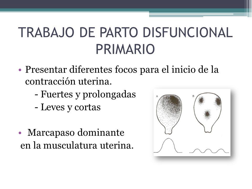 Presentar diferentes focos para el inicio de la contracción uterina. - Fuertes y prolongadas - Leves y cortas Marcapaso dominante en la musculatura ut