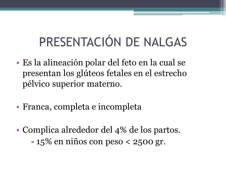 PRESENTACIÓN DE NALGAS Es la alineación polar del feto en la cual se presentan los glúteos fetales en el estrecho pélvico superior materno. Franca, co