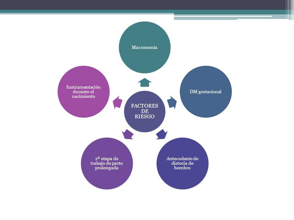 FACTORES DE RIESGO MacrosomíaDM gestacional Antecedente de distocia de hombro 2ª etapa de trabajo de parto prolongada Instrumentación durante el nacim