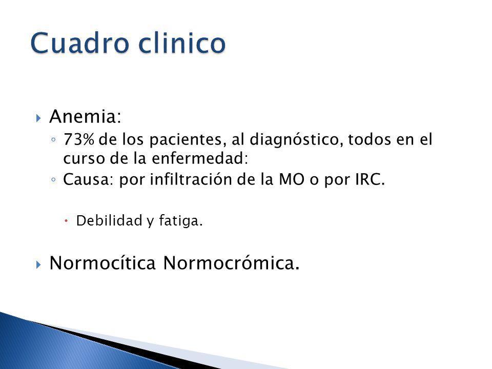 Anemia: 73% de los pacientes, al diagnóstico, todos en el curso de la enfermedad: Causa: por infiltración de la MO o por IRC. Debilidad y fatiga. Norm