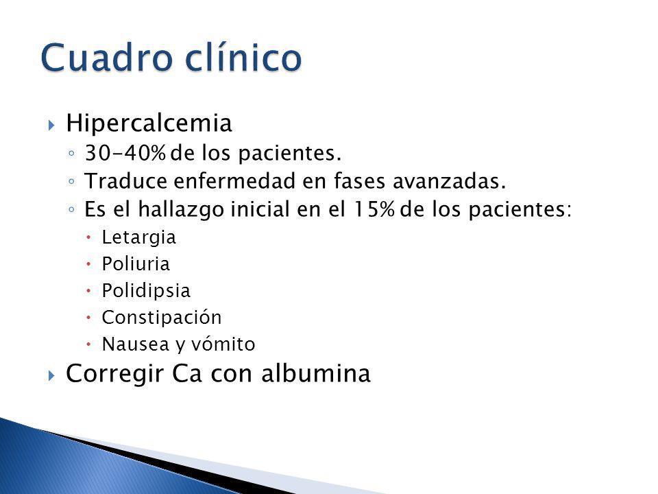 Hipercalcemia 30-40% de los pacientes. Traduce enfermedad en fases avanzadas. Es el hallazgo inicial en el 15% de los pacientes: Letargia Poliuria Pol