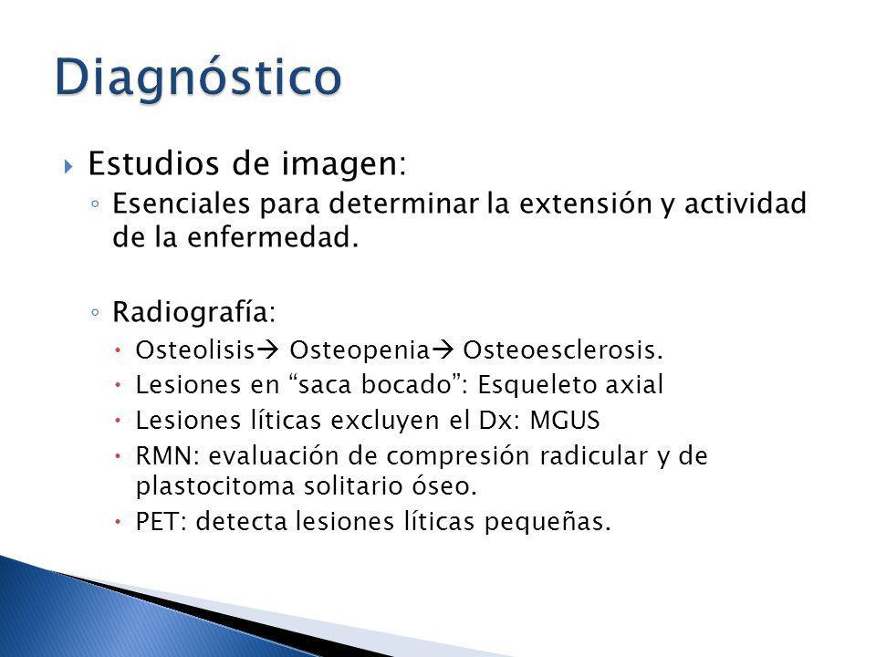 Estudios de imagen: Esenciales para determinar la extensión y actividad de la enfermedad. Radiografía: Osteolisis Osteopenia Osteoesclerosis. Lesiones