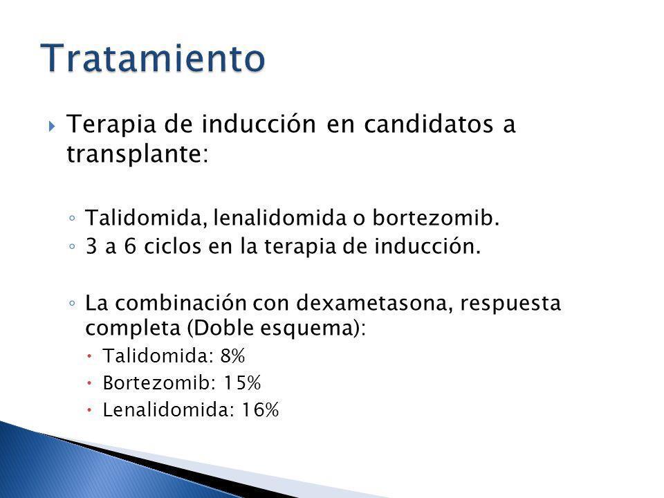 Terapia de inducción en candidatos a transplante: Talidomida, lenalidomida o bortezomib. 3 a 6 ciclos en la terapia de inducción. La combinación con d
