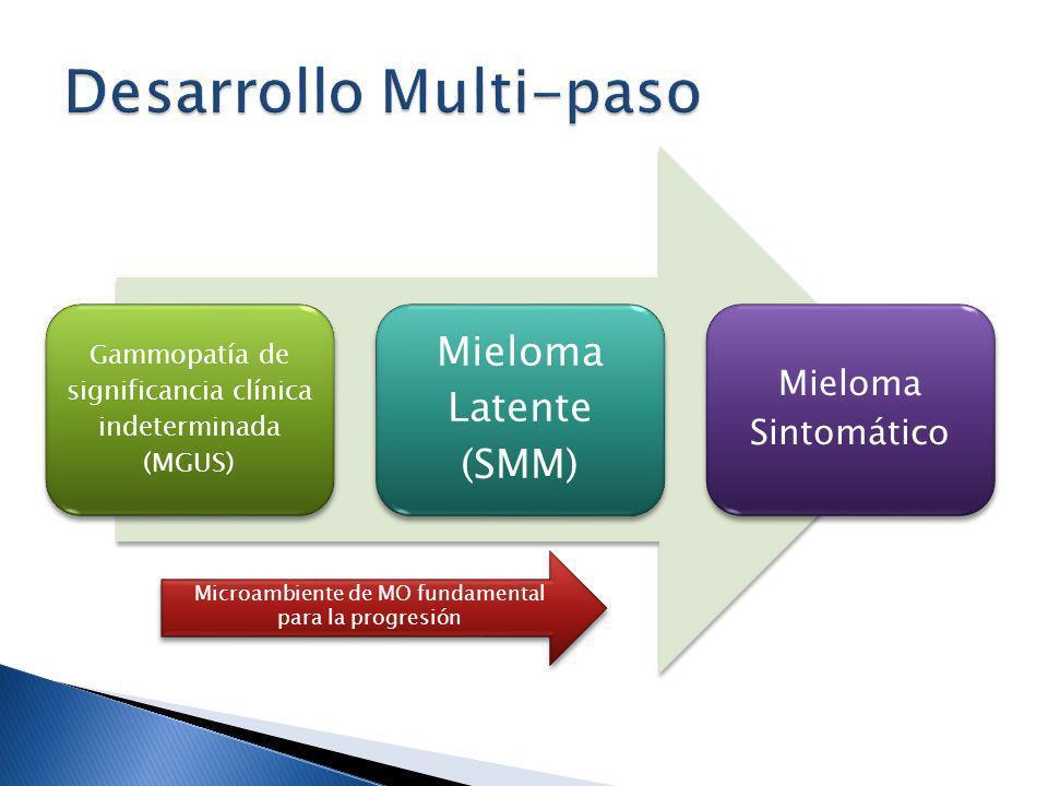 Gammopatía de significancia clínica indeterminada (MGUS) Mieloma Latente (SMM) Mieloma Sintomático Microambiente de MO fundamental para la progresión