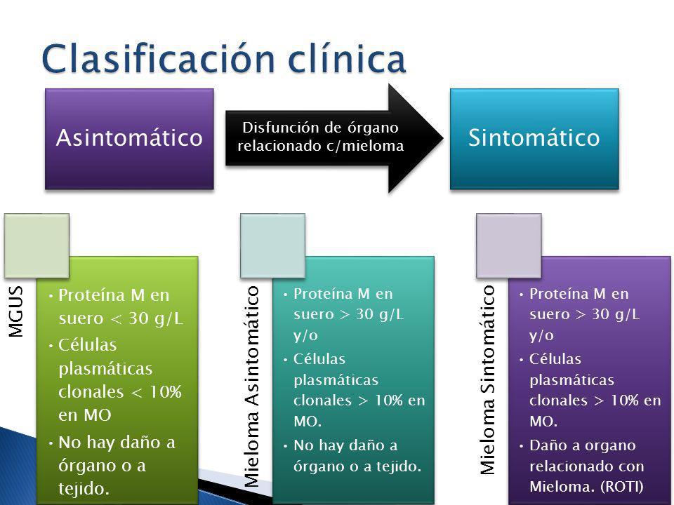 AsintomáticoSintomático Disfunción de órgano relacionado c/mieloma MGUS Proteína M en suero < 30 g/L Células plasmáticas clonales < 10% en MO No hay d