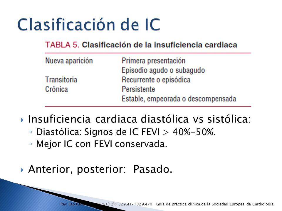 Insuficiencia cardiaca diastólica vs sistólica: Diastólica: Signos de IC FEVI > 40%-50%. Mejor IC con FEVI conservada. Anterior, posterior: Pasado. Re