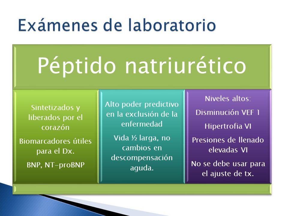 Péptido natriurético Sintetizados y liberados por el corazón Biomarcadores útiles para el Dx. BNP, NT-proBNP Alto poder predictivo en la exclusión de