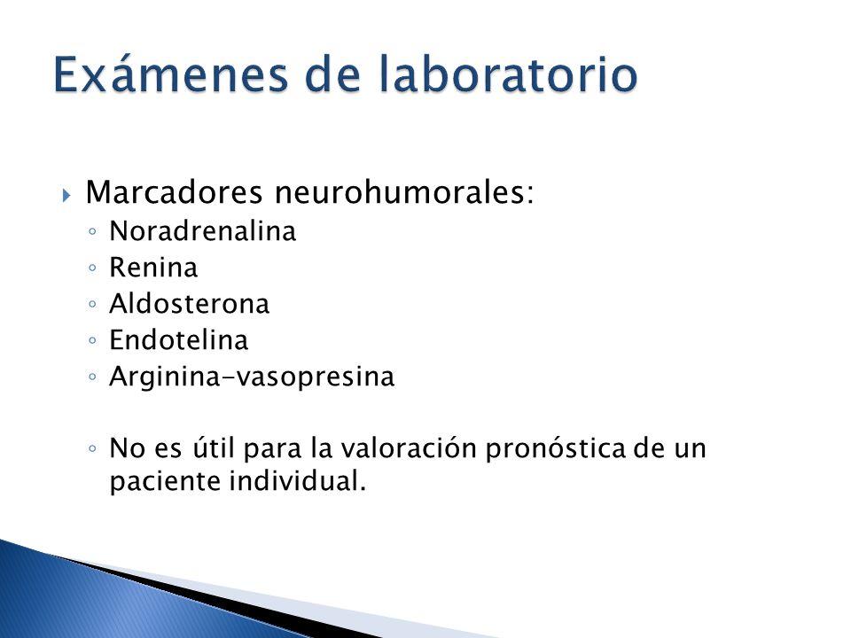 Marcadores neurohumorales: Noradrenalina Renina Aldosterona Endotelina Arginina-vasopresina No es útil para la valoración pronóstica de un paciente in