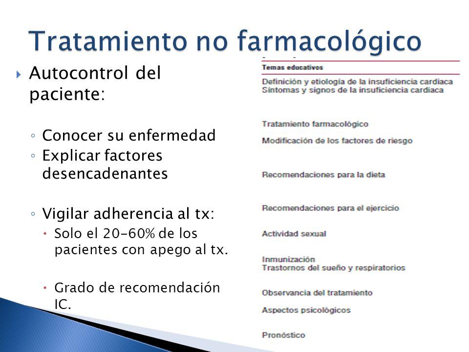Autocontrol del paciente: Conocer su enfermedad Explicar factores desencadenantes Vigilar adherencia al tx: Solo el 20-60% de los pacientes con apego