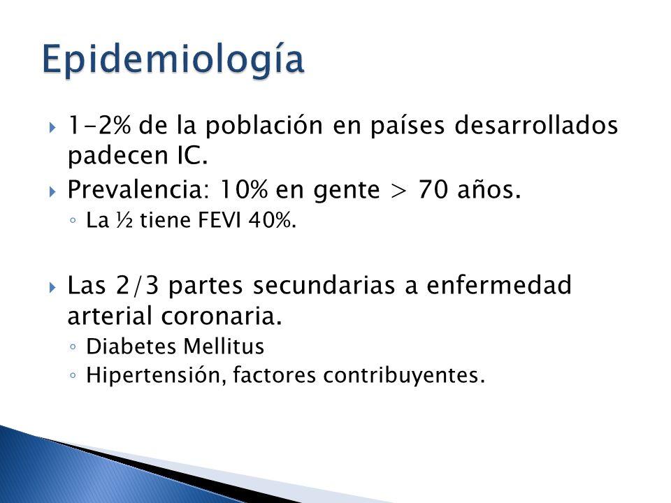 1-2% de la población en países desarrollados padecen IC. Prevalencia: 10% en gente > 70 años. La ½ tiene FEVI 40%. Las 2/3 partes secundarias a enferm