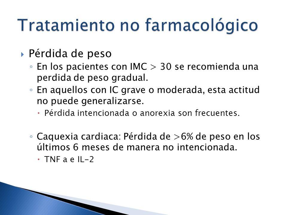 Pérdida de peso En los pacientes con IMC > 30 se recomienda una perdida de peso gradual. En aquellos con IC grave o moderada, esta actitud no puede ge