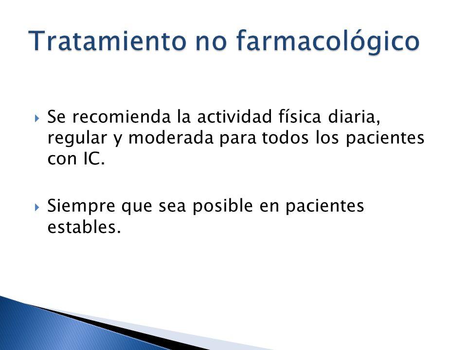 Se recomienda la actividad física diaria, regular y moderada para todos los pacientes con IC. Siempre que sea posible en pacientes estables.